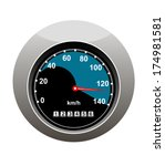car speedometer showing someone ... | Shutterstock .eps vector #174981581