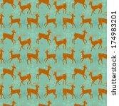 seamless background with deers   Shutterstock . vector #174983201
