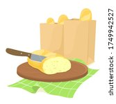 knife bread slicing on a wooden ... | Shutterstock .eps vector #1749942527
