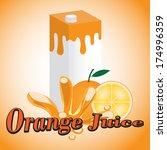 orange juice cartons with screw ... | Shutterstock .eps vector #174996359