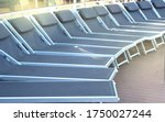 Empty deck chairs on the upper deck of a cruise ship, NOBODY, OUTDOOR, SEA RECREATION CONCEPT - stock photo