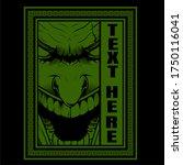 retro green skull in frame hand ... | Shutterstock .eps vector #1750116041