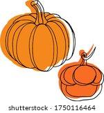 vector drawing of pumpkins.... | Shutterstock .eps vector #1750116464