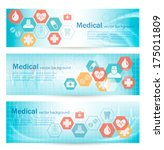 three medical banners with... | Shutterstock .eps vector #175011809