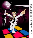 70s male disco dancer dancing... | Shutterstock .eps vector #175017959