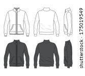 Blank Men's jacket with zipper in front, back and side views. Windbreaker with stand collar. Isolated on white.