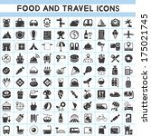 food and travel icons set | Shutterstock .eps vector #175021745