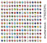 192 Markers from paper with flag for map, vector illustration - stock vector