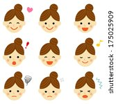 facial expressions of woman.... | Shutterstock .eps vector #175025909