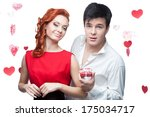 young smiling man and woman in...   Shutterstock . vector #175034717
