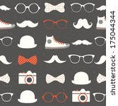 vector seamless hipster... | Shutterstock .eps vector #175044344
