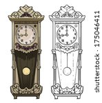 Old Clock Drawing  Colored And...