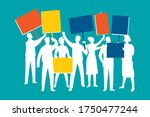 crowd of protesting people... | Shutterstock .eps vector #1750477244