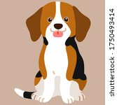 flat colored beagle sitting in... | Shutterstock .eps vector #1750493414