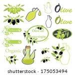 set of vectors on olive oil... | Shutterstock .eps vector #175053494