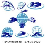 Global logistics concept illustration.. Globe, airplane (aeroplane), truck, train and cargo container ship. - stock vector