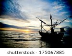 fishing boat huahin beach | Shutterstock . vector #175067885