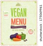 vintage vegan menu poster.... | Shutterstock .eps vector #175069961