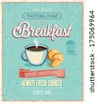vintage breakfast poster.... | Shutterstock .eps vector #175069964