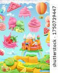 sweet candy land. 3d vector... | Shutterstock .eps vector #1750739447