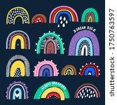 bright rainbows on a dark... | Shutterstock .eps vector #1750763597