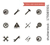 black tools gear wheels icons... | Shutterstock .eps vector #175085501