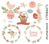 happy easter graphic elements... | Shutterstock .eps vector #175086671