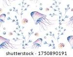 Sea Animals Blue Watercolor...