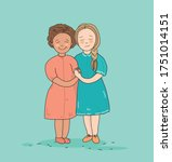 two girls of different... | Shutterstock .eps vector #1751014151