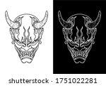 Black And White Oni Mask Design