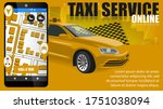 taxi banner on a yellow...   Shutterstock .eps vector #1751038094