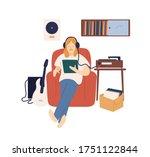 male music lover in headphones...   Shutterstock .eps vector #1751122844