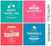 set of four happy valentine's...   Shutterstock . vector #175114154