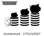 piggy bank icon and coin tower...   Shutterstock .eps vector #1751210567