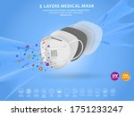 set of n95 surgical mask or... | Shutterstock .eps vector #1751233247