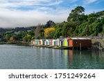 Colorful Boat Sheds With...