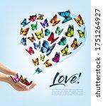 hands releasing butterflies.... | Shutterstock .eps vector #1751264927