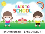 back to school for new normal... | Shutterstock .eps vector #1751296874