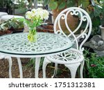 White Wrought Iron Table With...