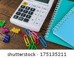 calculator  notebooks   clips... | Shutterstock . vector #175135211
