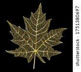 golden leaf vein isolated on... | Shutterstock .eps vector #1751380697