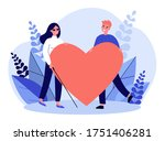 visually impaired woman and man ... | Shutterstock .eps vector #1751406281