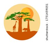 african safari. silhouette and... | Shutterstock .eps vector #1751459051