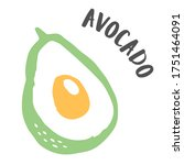 avocado cut in half drawing... | Shutterstock .eps vector #1751464091