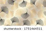 luxury gold ginkgo background... | Shutterstock .eps vector #1751464511