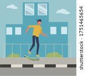 character design skateboard fun ... | Shutterstock .eps vector #1751465654