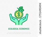 ecological economics thin line... | Shutterstock .eps vector #1751490494