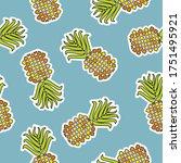 vector seamless pineapple fruit ... | Shutterstock .eps vector #1751495921