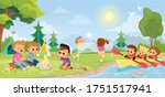 summer landscape with kids.... | Shutterstock .eps vector #1751517941