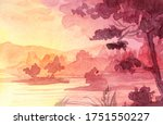 Watercolor Landscape With Lake...